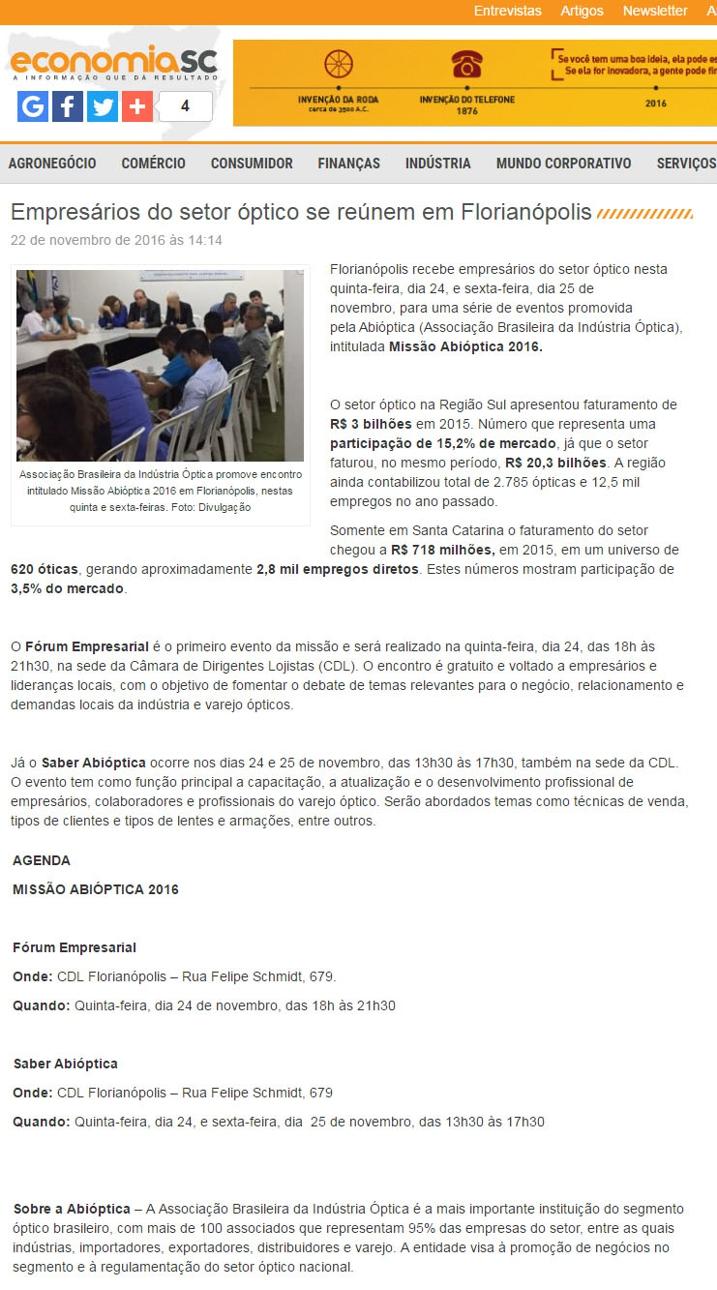 Clipping Diário - 23 11 2016 - - CDL de Florianópolis daa6335340